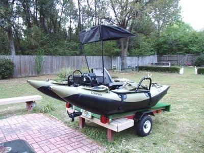 inflatable pontoon on a transporter